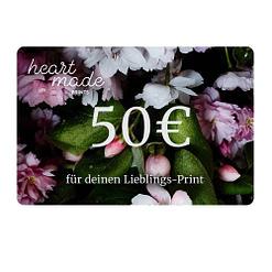 Geschenk Gutschein 50,- Euro HEARTMADE Prints Postershop