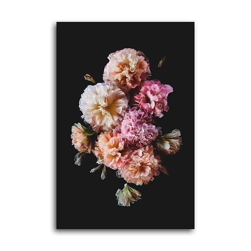 Poster rosa Blüten von Stockrosen