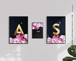 Namensposter mit goldenen Buchstaben und rosa Pfingstrosen als Partner-Wandbilder aus dem HEARTMADE Shop