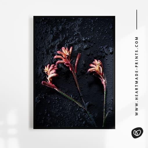 Abstraktes Wandbild mit Blumen auf schwarzem Puder aus dem HEARTMADE Shop